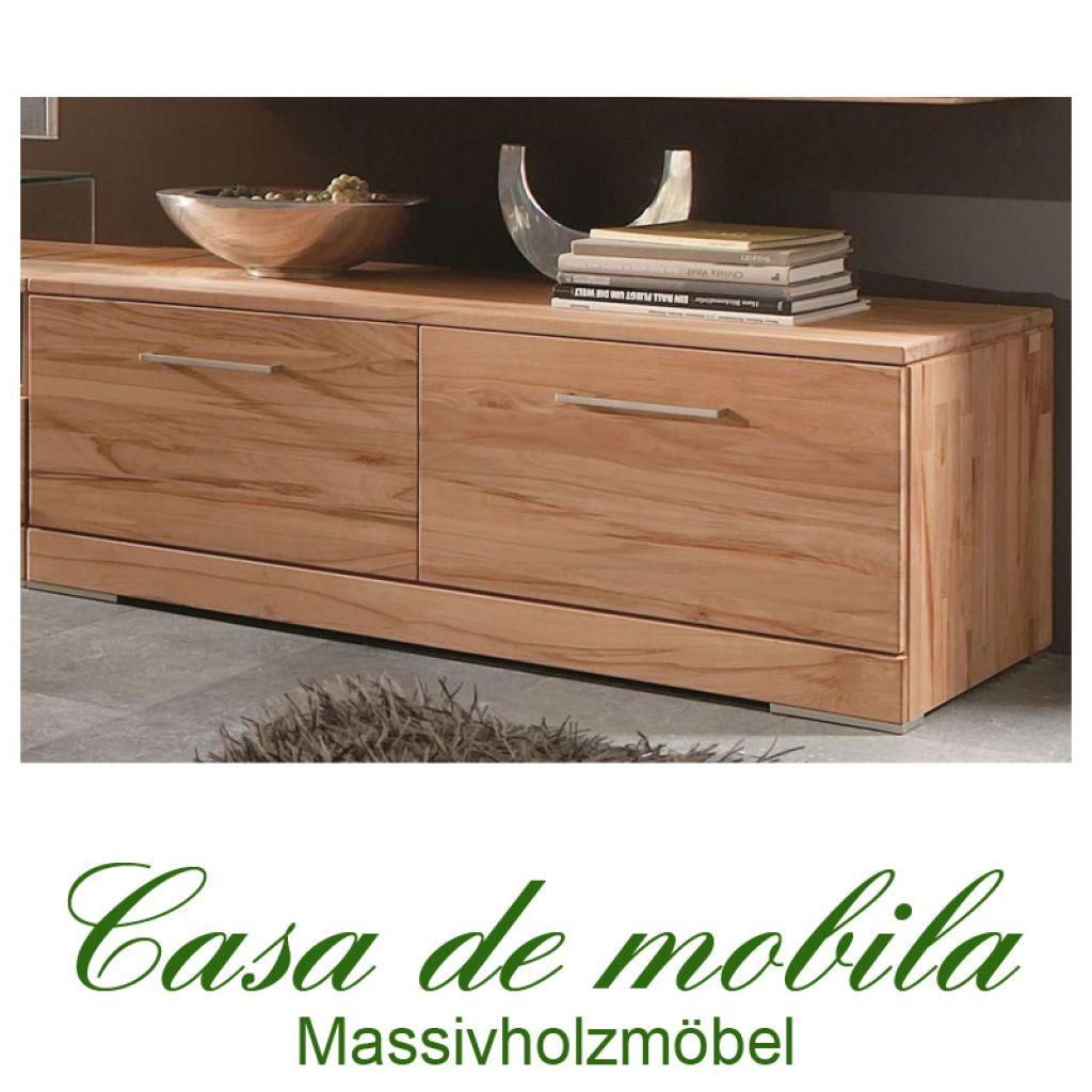 Massivholz TV-Lowboard Buche massiv natur geölt CASERA - TV-Board Kernbuche /