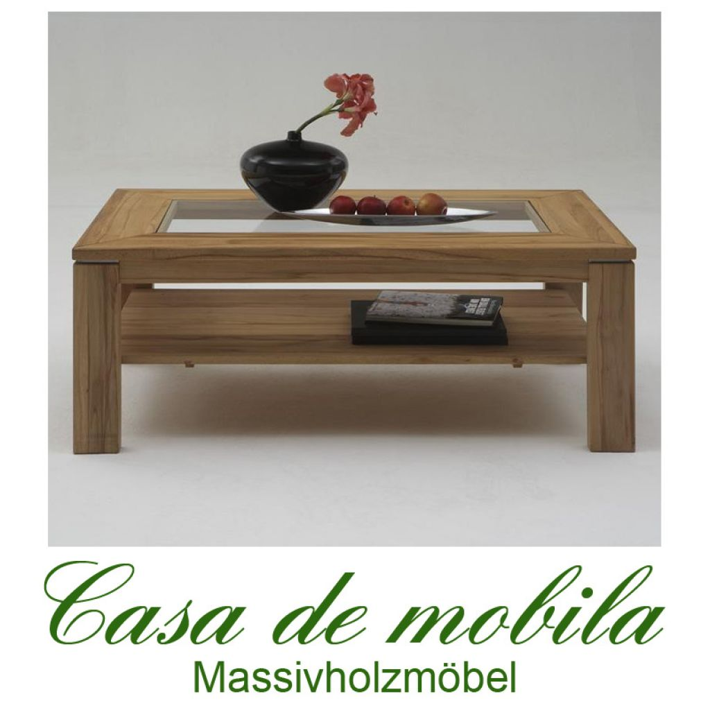 Massivholz Couchtisch mit Glasplatte Buche massiv natur geölt CASERA -