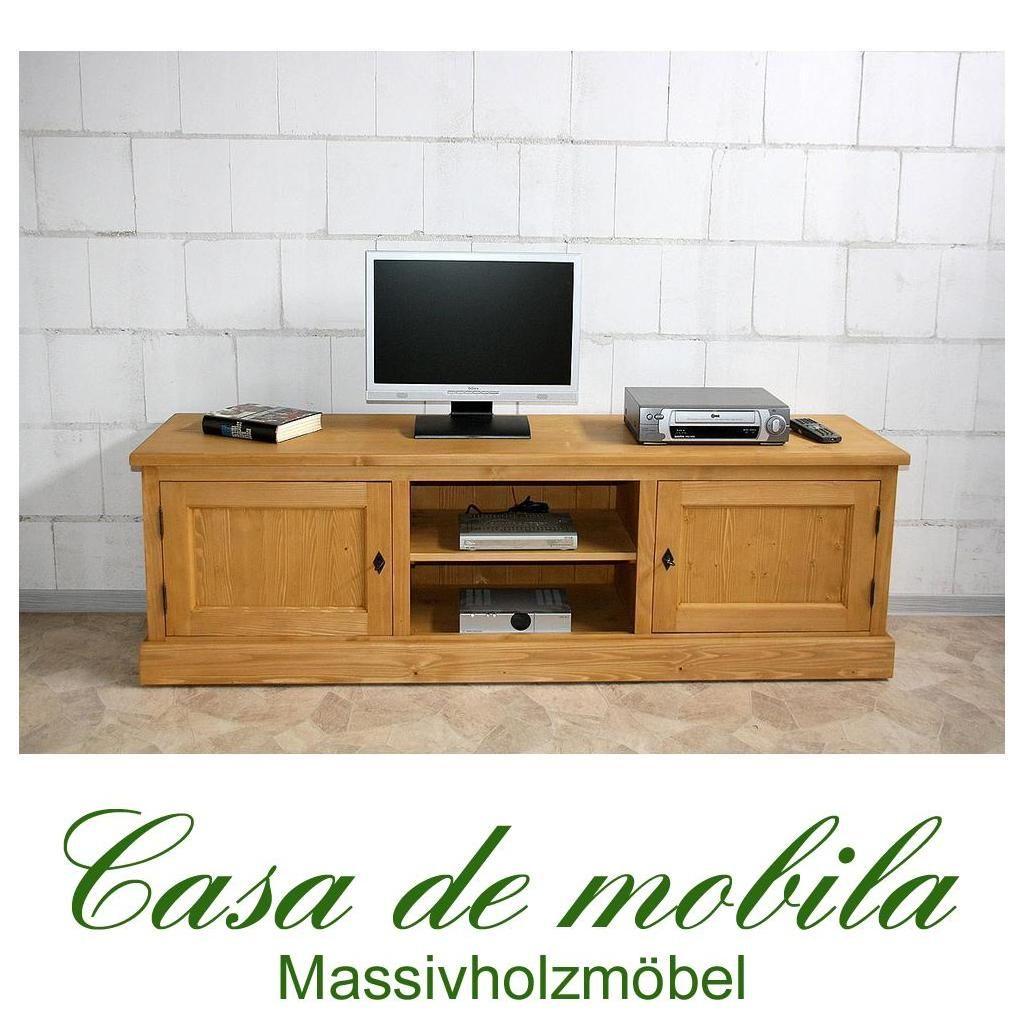 Massivholz TV-Lowboard TV Kommode antik gewachst - Retro Fichte massiv