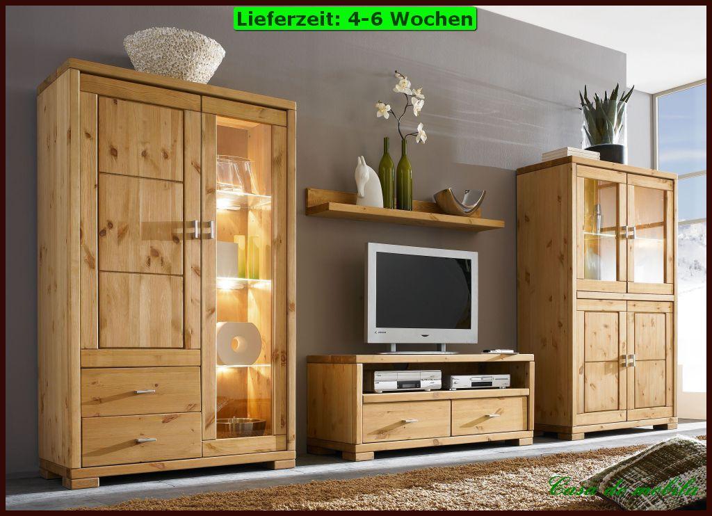 Wohnzimmermöbel Wohnwand holz Kiefer massiv gebeizt geölt