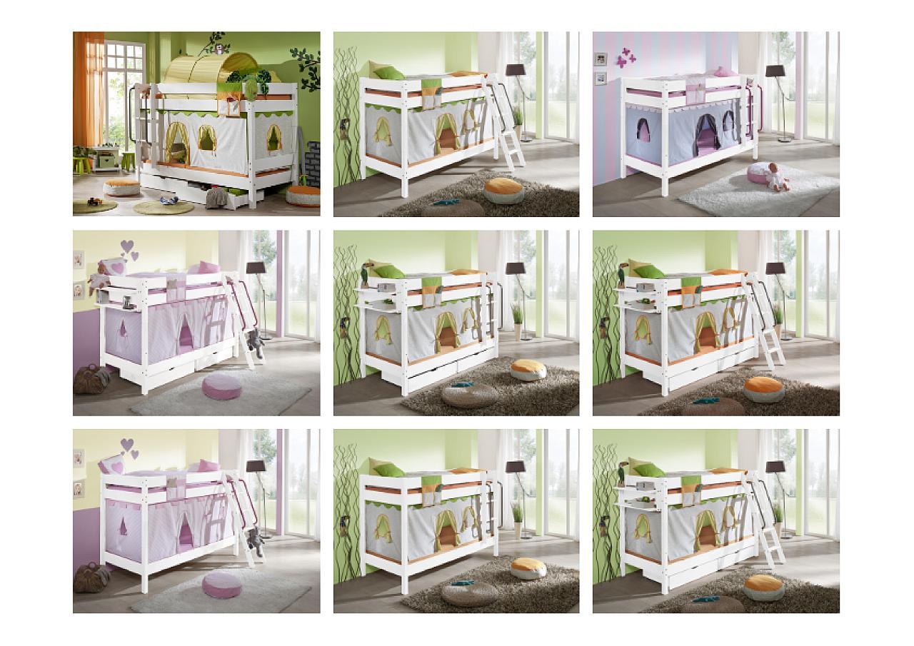 Massivholz Hochbett Buche massiv natur lackiert HANNOVER - Kinderbett mit Vorhang, Schreibtisch ...