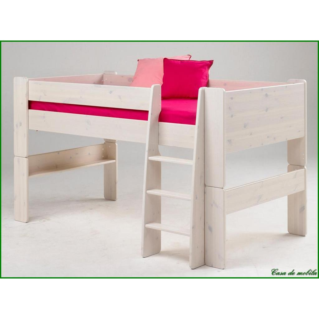 hochbett klein 90x200 for kids kiefer massiv weiss gewischt. Black Bedroom Furniture Sets. Home Design Ideas