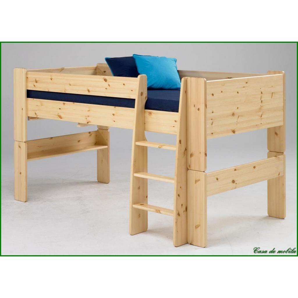hochbett klein 90x200 for kids kiefer massiv natur lackiert. Black Bedroom Furniture Sets. Home Design Ideas