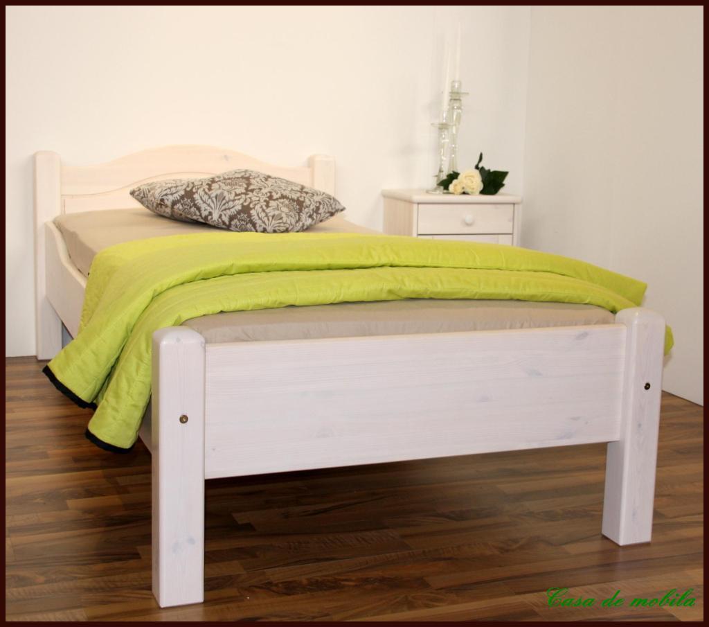 landhaus bett doppelbett weiss lasiert kiefer massiv. Black Bedroom Furniture Sets. Home Design Ideas