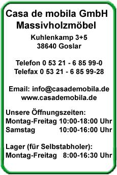Öffnnungszeiten Massiv Holz Möbel Goslar