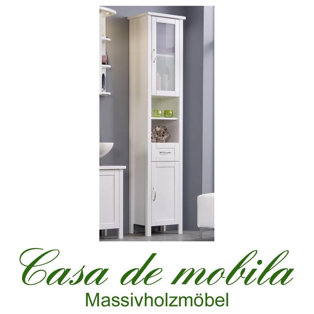 badschrank hochschrank badm bel badezimmerschrank holz kiefer massiv weiss venedig gro wei. Black Bedroom Furniture Sets. Home Design Ideas