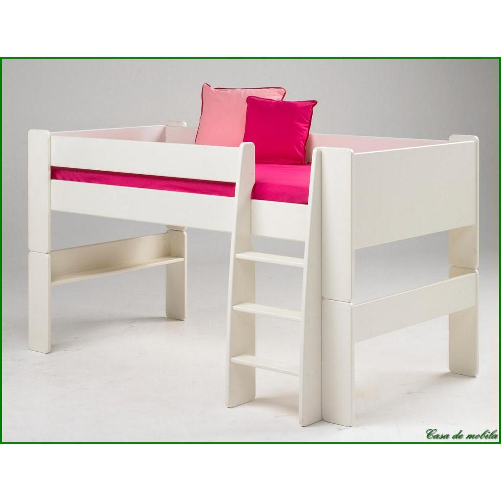 hochbett klein 90x200 for kids mdf weiss lackiert. Black Bedroom Furniture Sets. Home Design Ideas