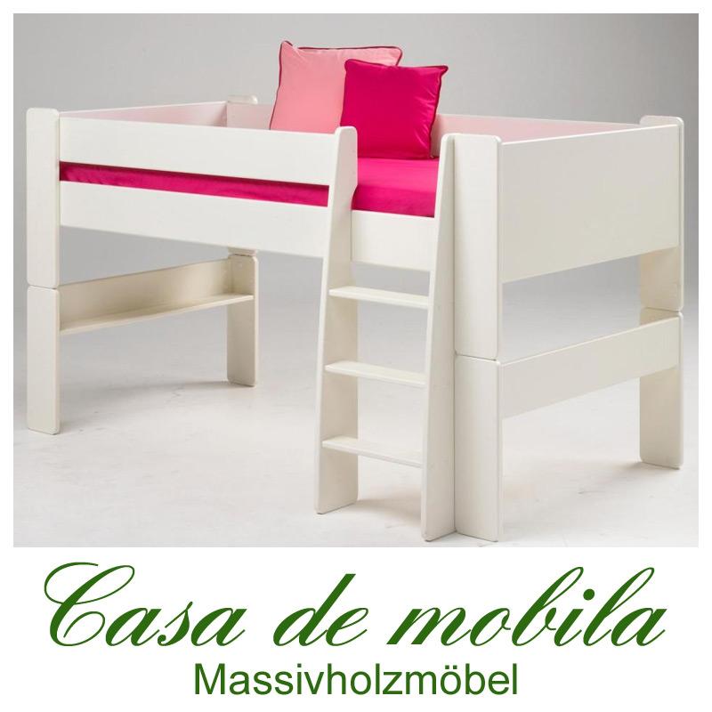 hochbett klein 90x200 for kids mdf weiss lackiert. Black Bedroom Furniture Sets. Home Design Ideas