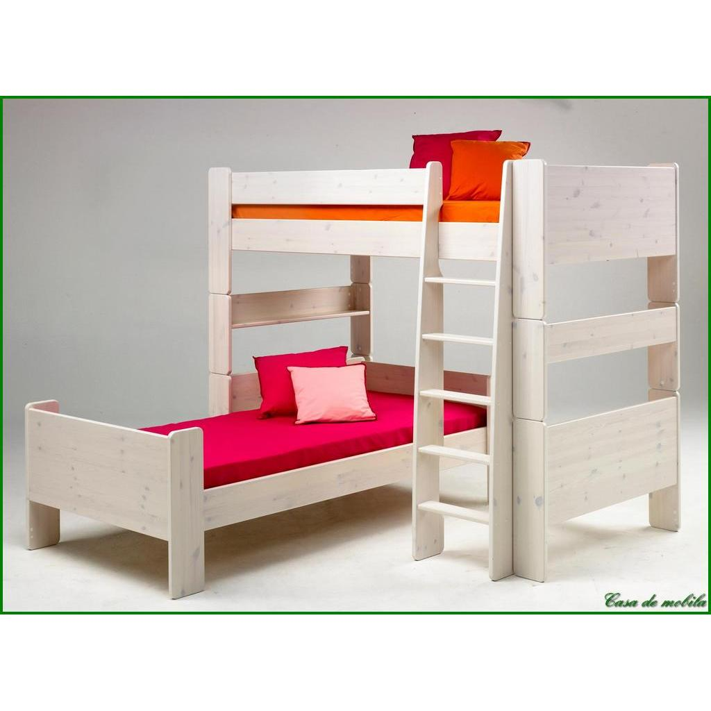 hochbett gro 90x200 for kids kiefer massiv weiss gewischt. Black Bedroom Furniture Sets. Home Design Ideas