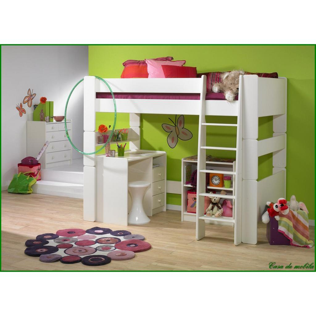 hochbett gro 90x200 for kids mdf weiss lackiert. Black Bedroom Furniture Sets. Home Design Ideas