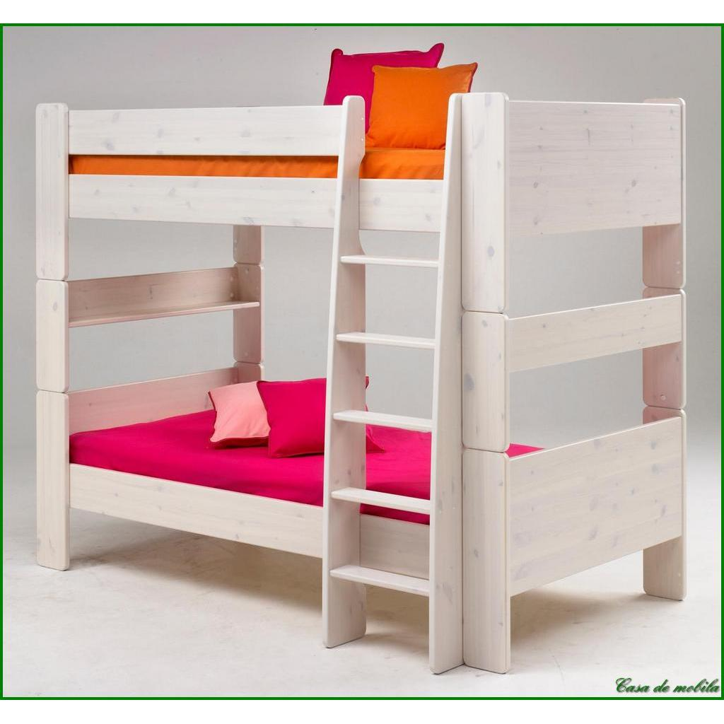 etagenbett 90x200 for kids kiefer massiv weiss gewischt. Black Bedroom Furniture Sets. Home Design Ideas