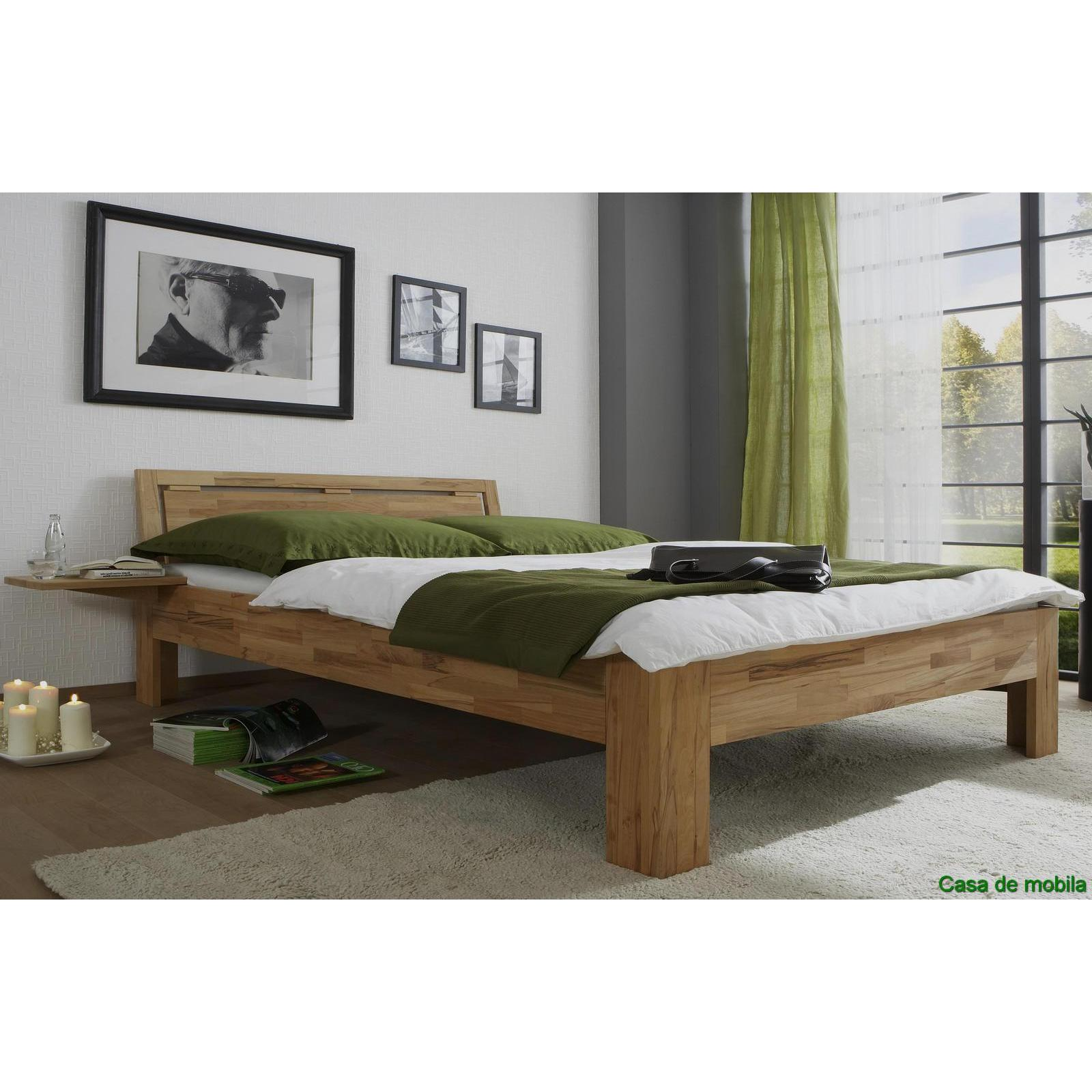 echtholz bett doppelbett 160x200 kernbuche massiv ge lt caro mit nachtkonsole. Black Bedroom Furniture Sets. Home Design Ideas