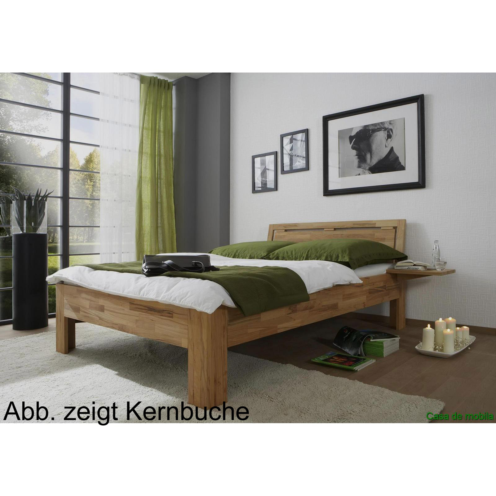 echtholz bett buche massiv ge lt 120x200 caro mit nachtkonsole. Black Bedroom Furniture Sets. Home Design Ideas