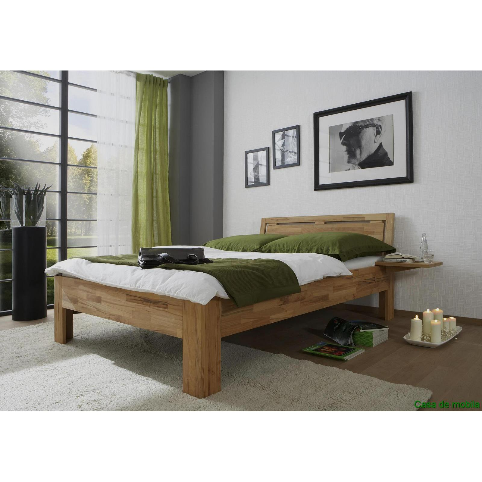 echtholz bett kernbuche massiv ge lt 120x200 caro mit nachtkonsole. Black Bedroom Furniture Sets. Home Design Ideas