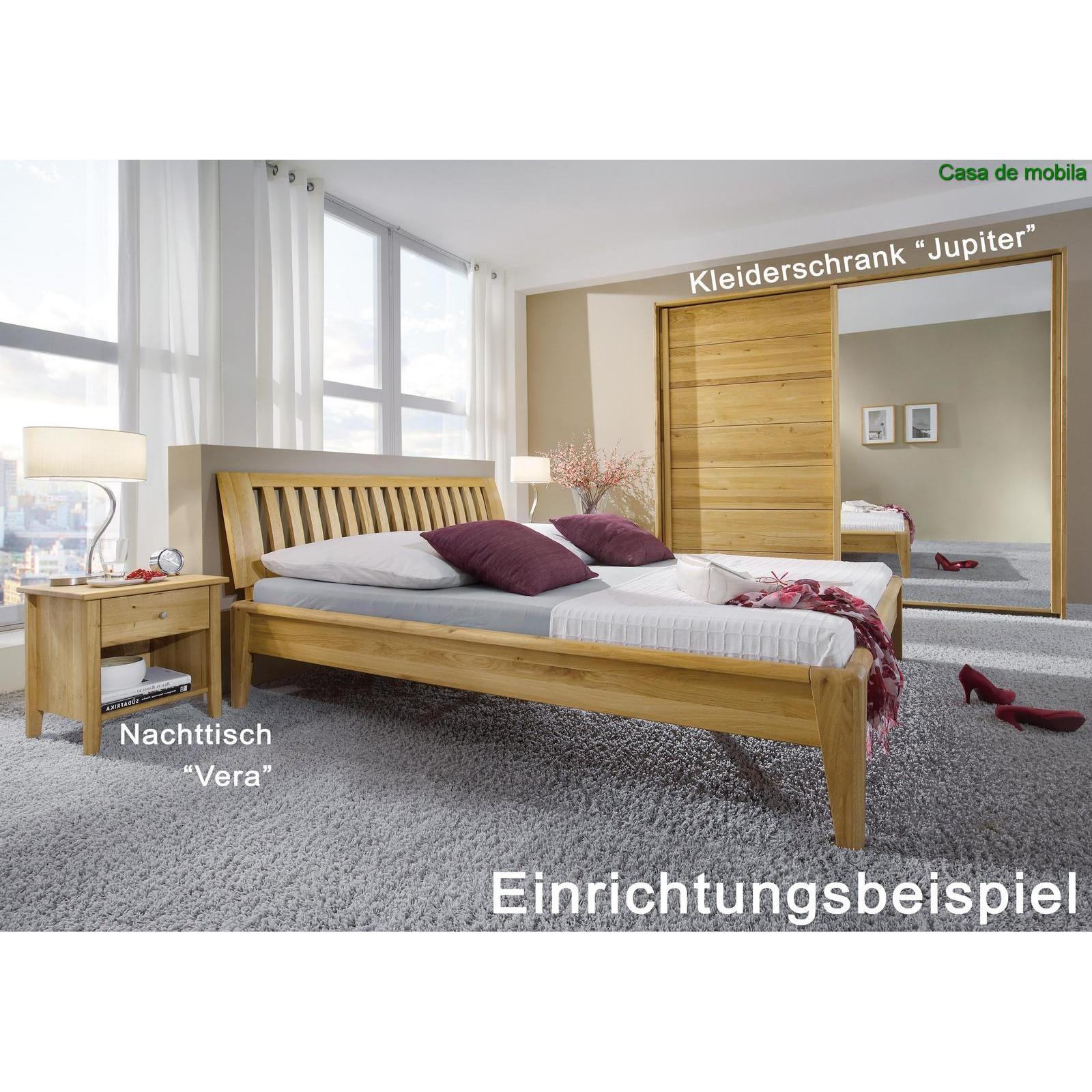 echtholz bett doppelbett 180x200 eiche massiv ge lt sara i wildeiche. Black Bedroom Furniture Sets. Home Design Ideas