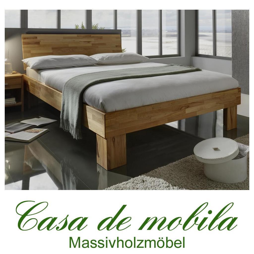 Bett 120x200 holz  Echtholz Einzelbett Bett Kernbuche massiv geölt GAMMA Holzbett 120x200
