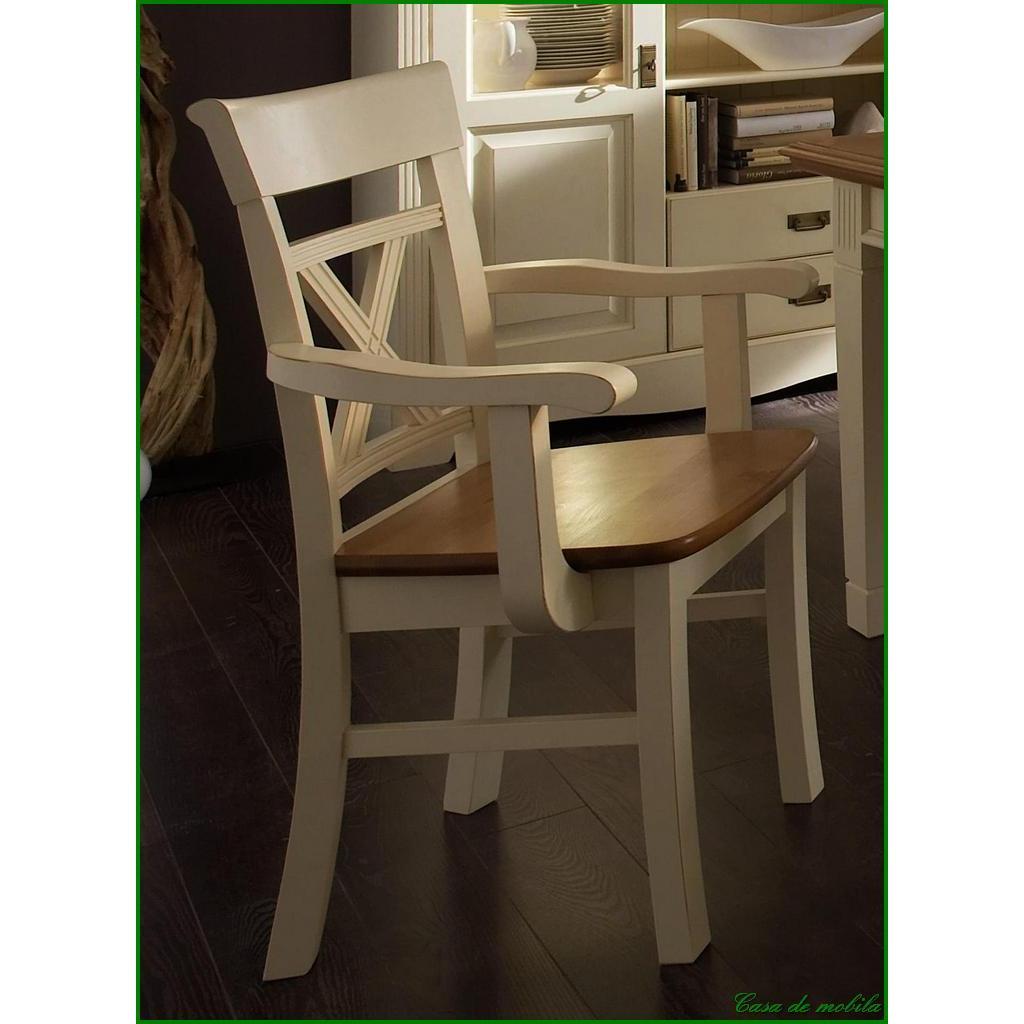 Massivholz Armlehnstuhl Armlehnsessel Stühle Mit Armlehne Armlehnenstuhl  Kiefer Massiv PARIS Vintage, Champagner Goldbraun Gebeizt/