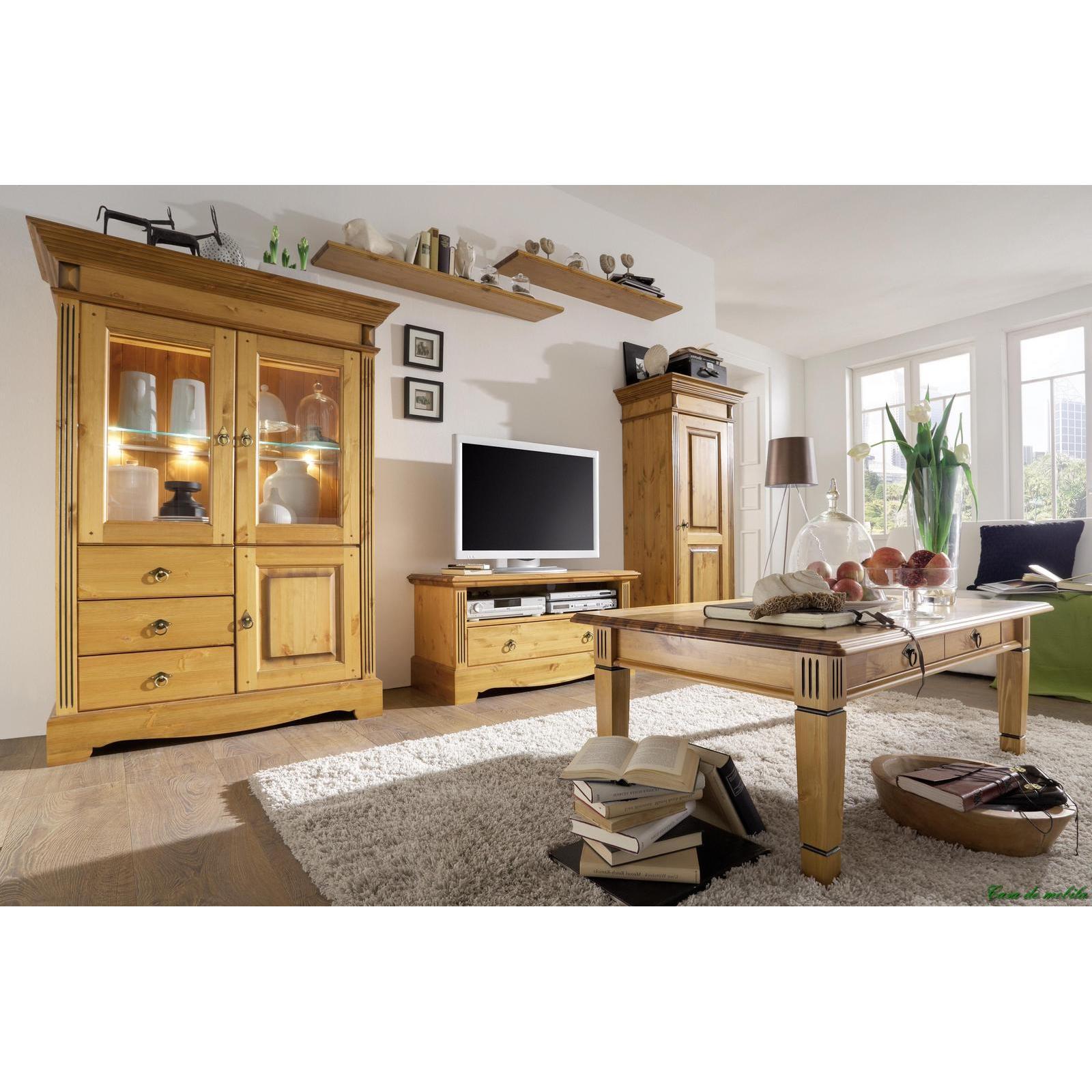 landhaus highboard goldbraun patiniert g teborg kiefer massiv. Black Bedroom Furniture Sets. Home Design Ideas