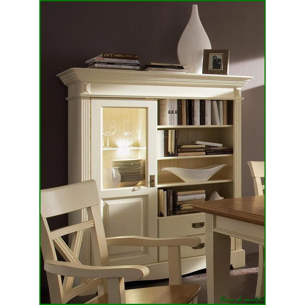 landhaus vitrinenschrank gro champagner lackiert paris. Black Bedroom Furniture Sets. Home Design Ideas