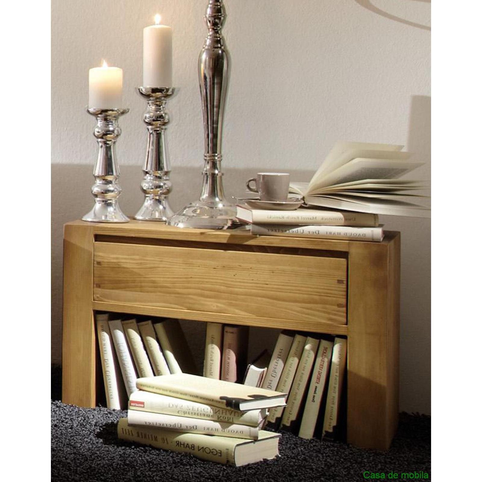vollholz nachttisch nachtkonsole kiefer massiv antik gebeizt gewachst 60cm. Black Bedroom Furniture Sets. Home Design Ideas