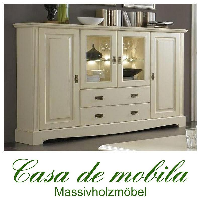 Massivholz Highboard Kiefer Massiv Cremeweiss Landhausstil Wohnzimmerschrank PARIS