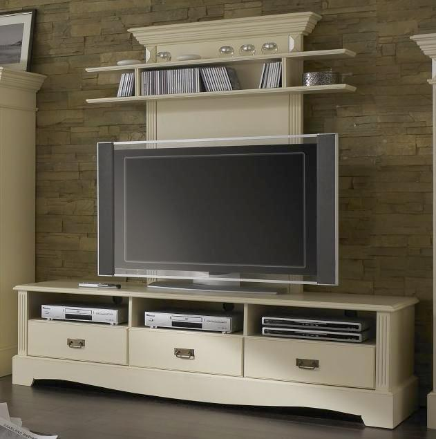 tv lowboard mit wandpaneel champagner lackiert paris. Black Bedroom Furniture Sets. Home Design Ideas