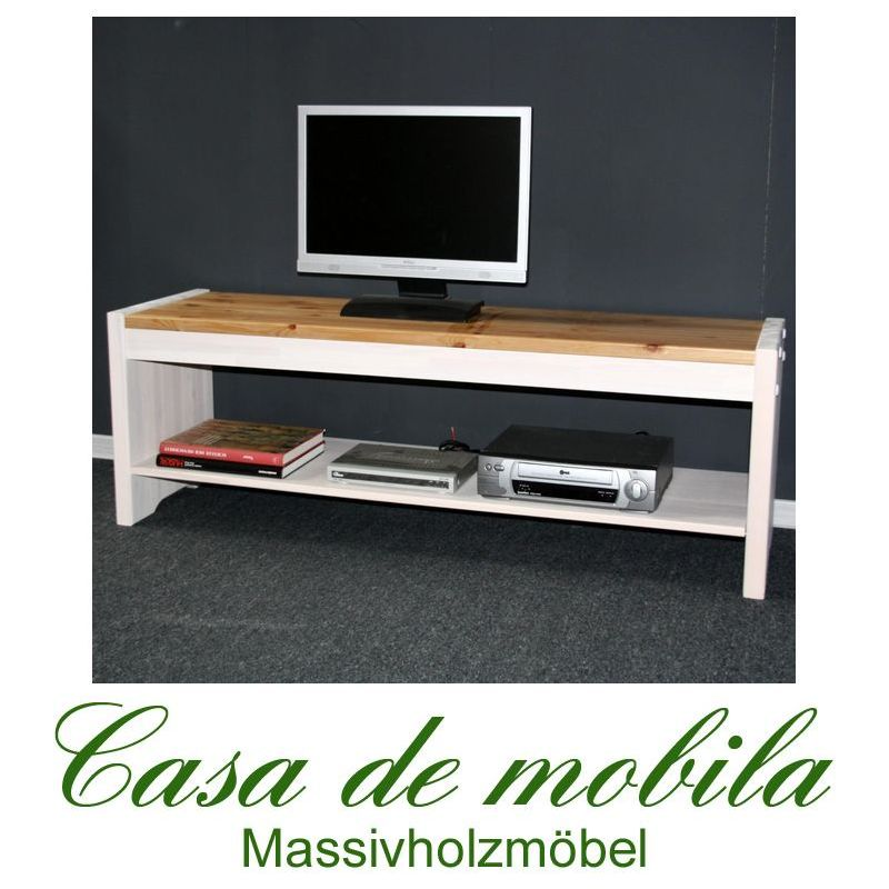 vollholz tv lowboard tv tisch kiefer massiv wei antik kolonial boston. Black Bedroom Furniture Sets. Home Design Ideas