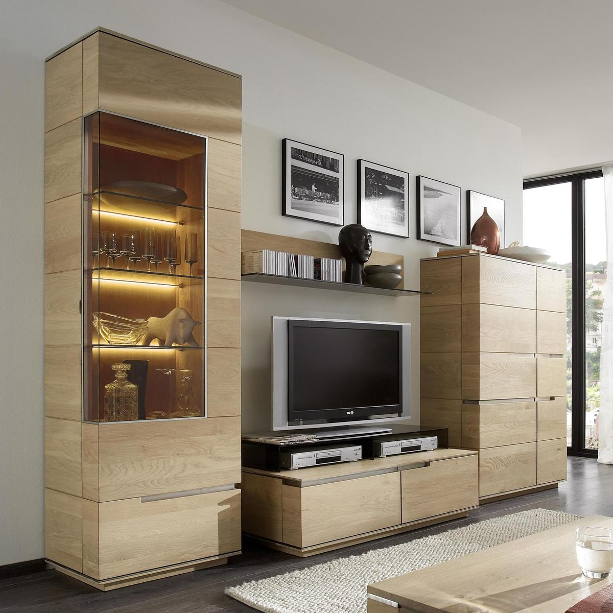 wohnzimmerm bel anbauwand wildeiche massiv geb rstet bianco ge lt acerro. Black Bedroom Furniture Sets. Home Design Ideas