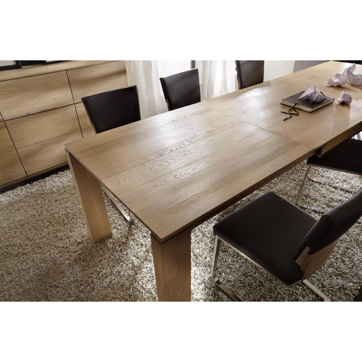 Esstisch ausziehbar eiche geölt  Esszimmertisch ausziehbar Wildeiche massiv bianco geölt 220x95 ACERRO