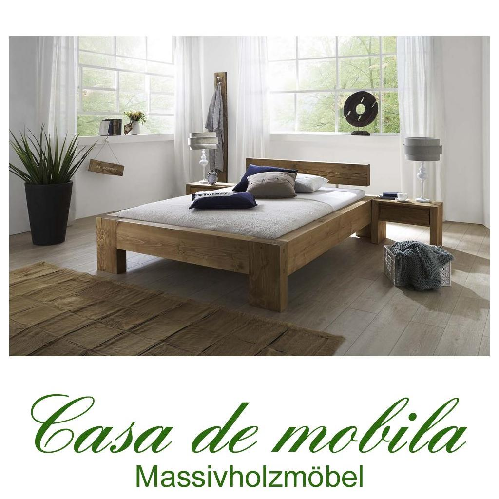 vollholz balkenbett doppelbett rustikal 140x200 fichte. Black Bedroom Furniture Sets. Home Design Ideas