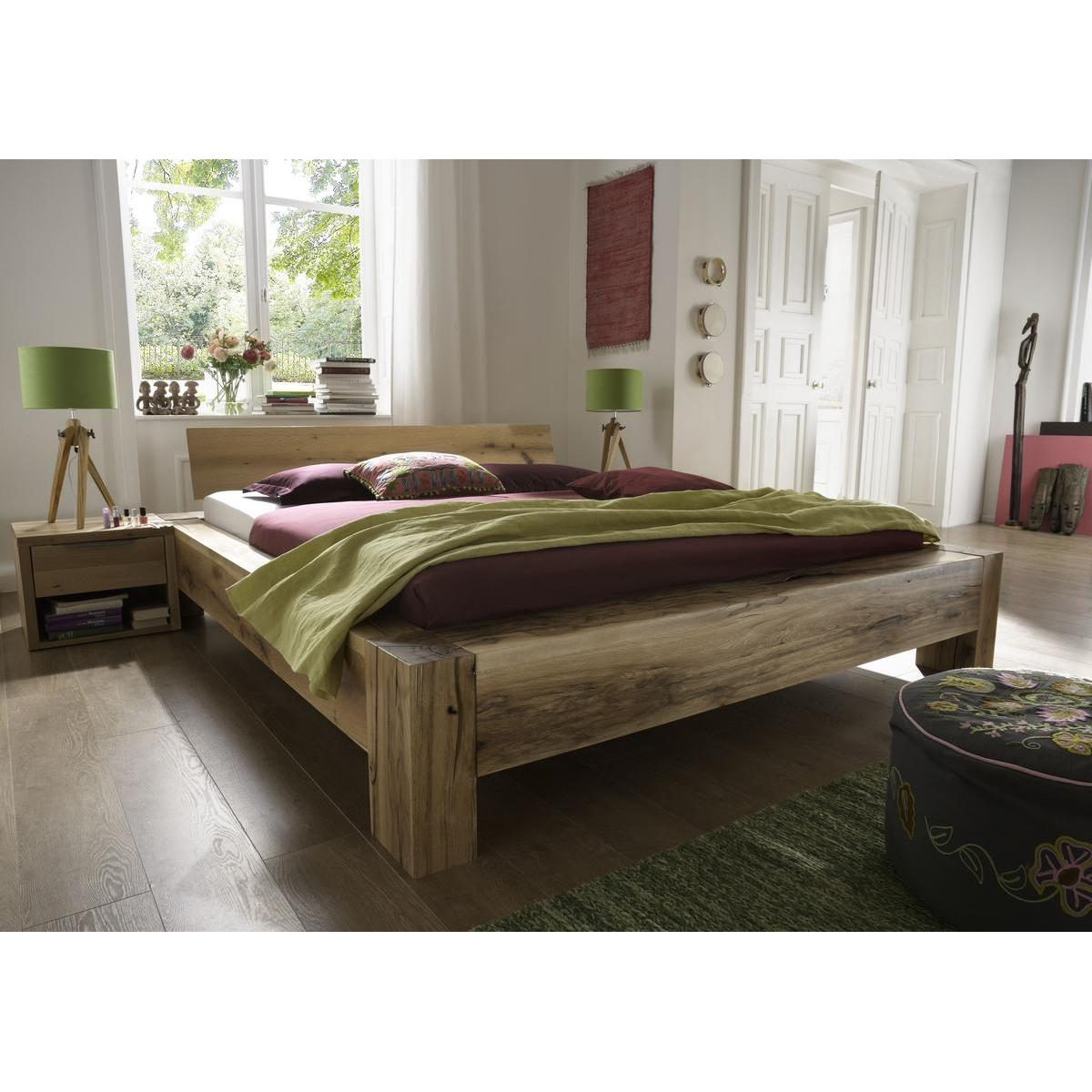 vollholz balkenbett 180x200 heavy sleep alba wildeiche massiv natur ge lt 2218 26 2120 3. Black Bedroom Furniture Sets. Home Design Ideas