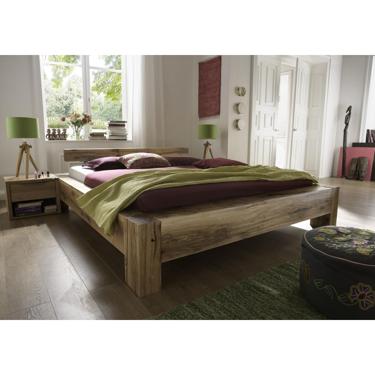 vollholz balkenbett 160x200 heavy sleep alba wildeiche massiv natur ge lt 2216 28 2120 3. Black Bedroom Furniture Sets. Home Design Ideas