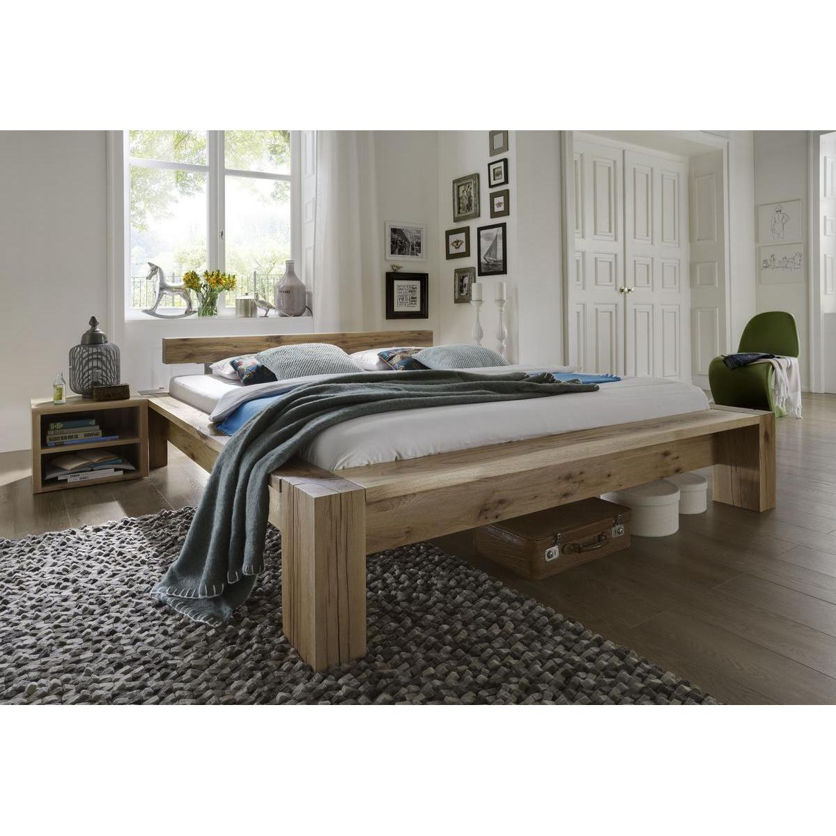 echtholz balkenbett 140x200 heavy sleep capri wildeiche. Black Bedroom Furniture Sets. Home Design Ideas