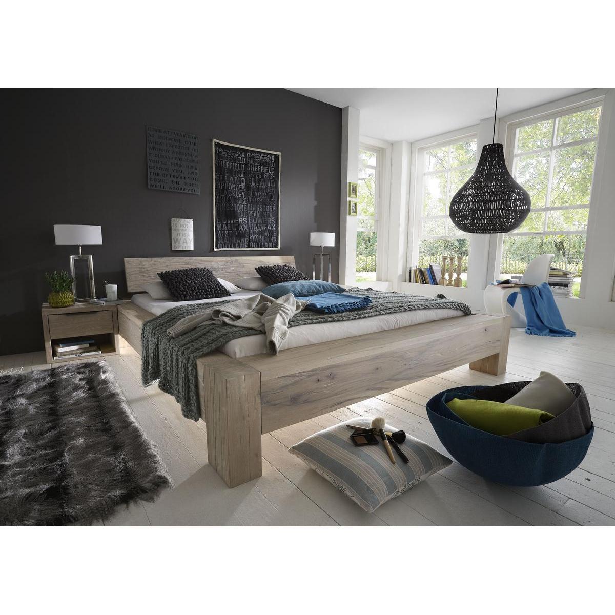 echtholz balkenbett 200x200 heavy sleep alba wildeiche massiv white wash 2220 26 2120 6. Black Bedroom Furniture Sets. Home Design Ideas