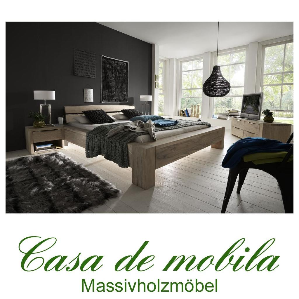massivholz balkenbett 140x200 heavy sleep alba wildeiche massiv white wash 2214 27 2120 6. Black Bedroom Furniture Sets. Home Design Ideas