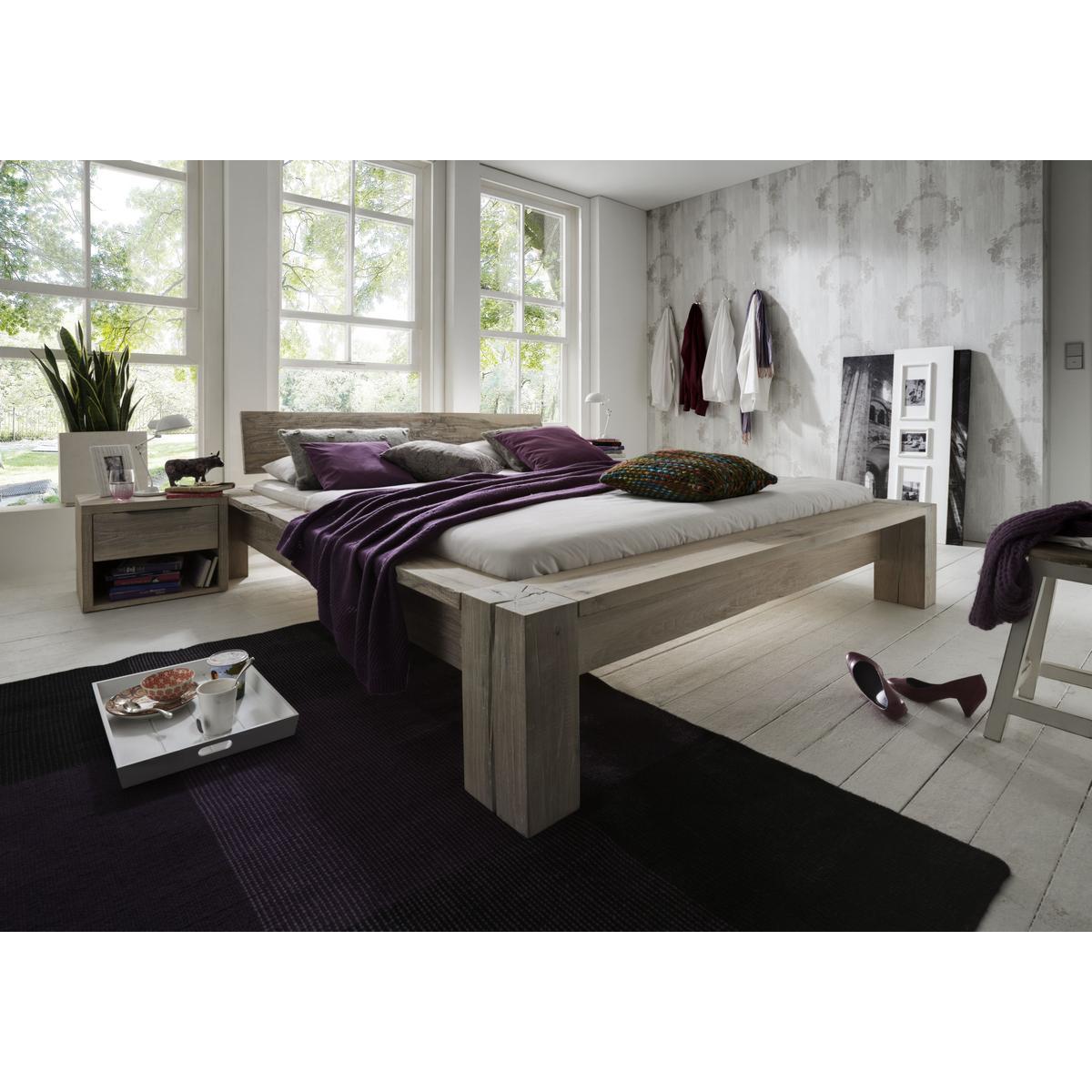 massivholz balkenbett 180x200 heavy sleep capri wildeiche. Black Bedroom Furniture Sets. Home Design Ideas