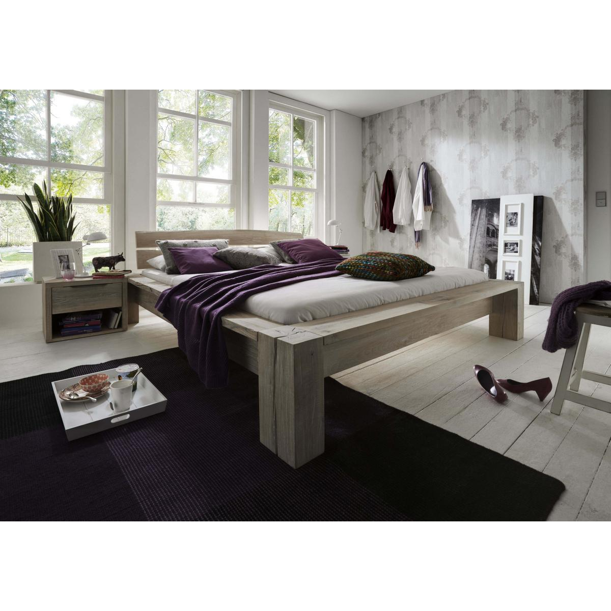 echtholz balkenbett 160x200 heavy sleep capri wildeiche. Black Bedroom Furniture Sets. Home Design Ideas