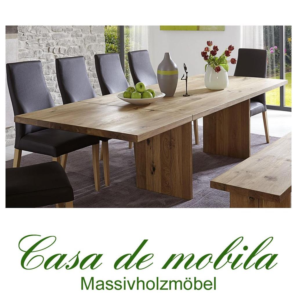 massivholz esstisch holz wildeiche massiv natur gelt binz 200260x100cm tisch erweiterbar eiche - Erweiterbare Konsole Esstisch