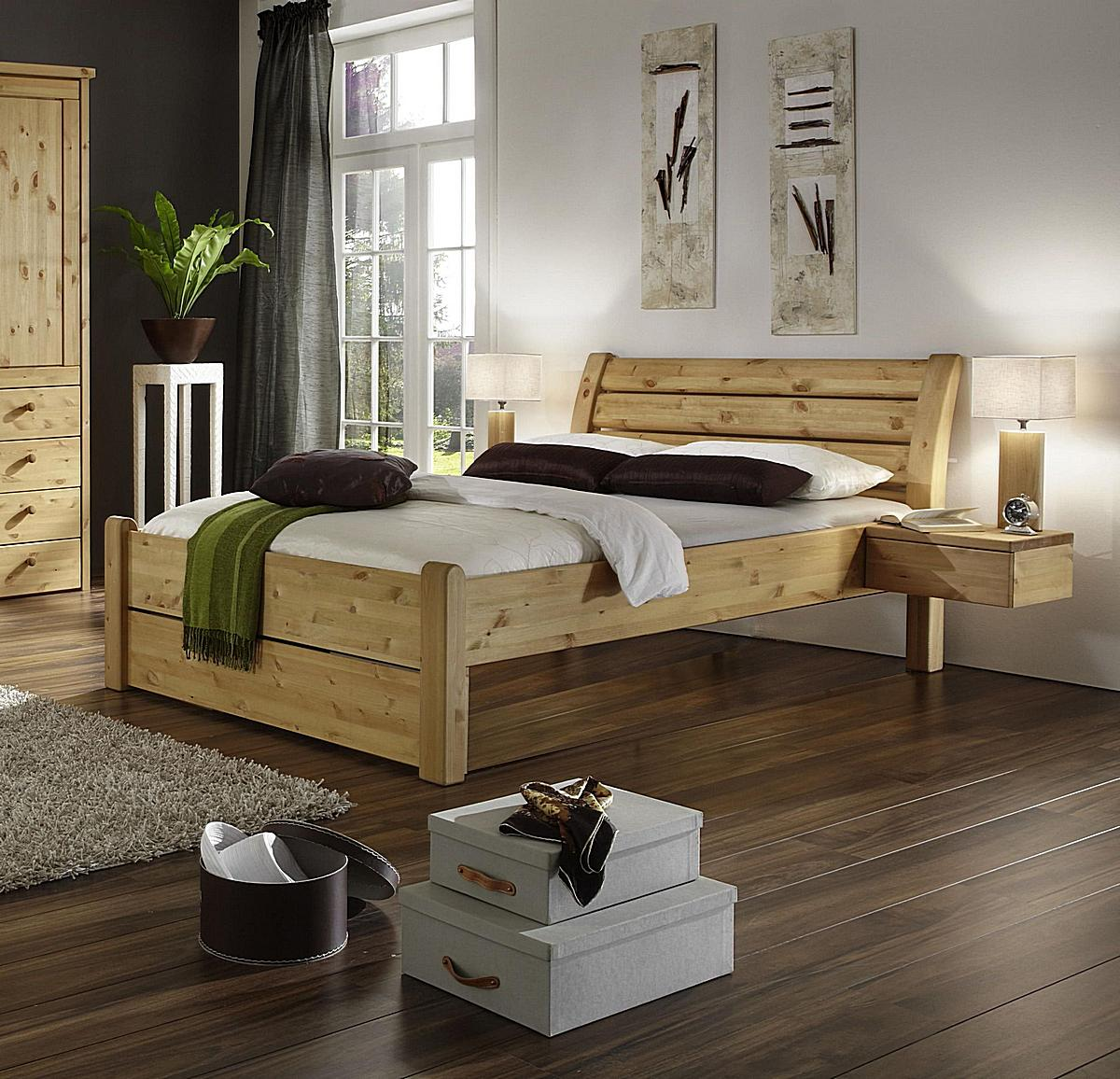 holzbett doppelbett kiefer massiv gelaugt ge lt rauna niedriges fu teil. Black Bedroom Furniture Sets. Home Design Ideas