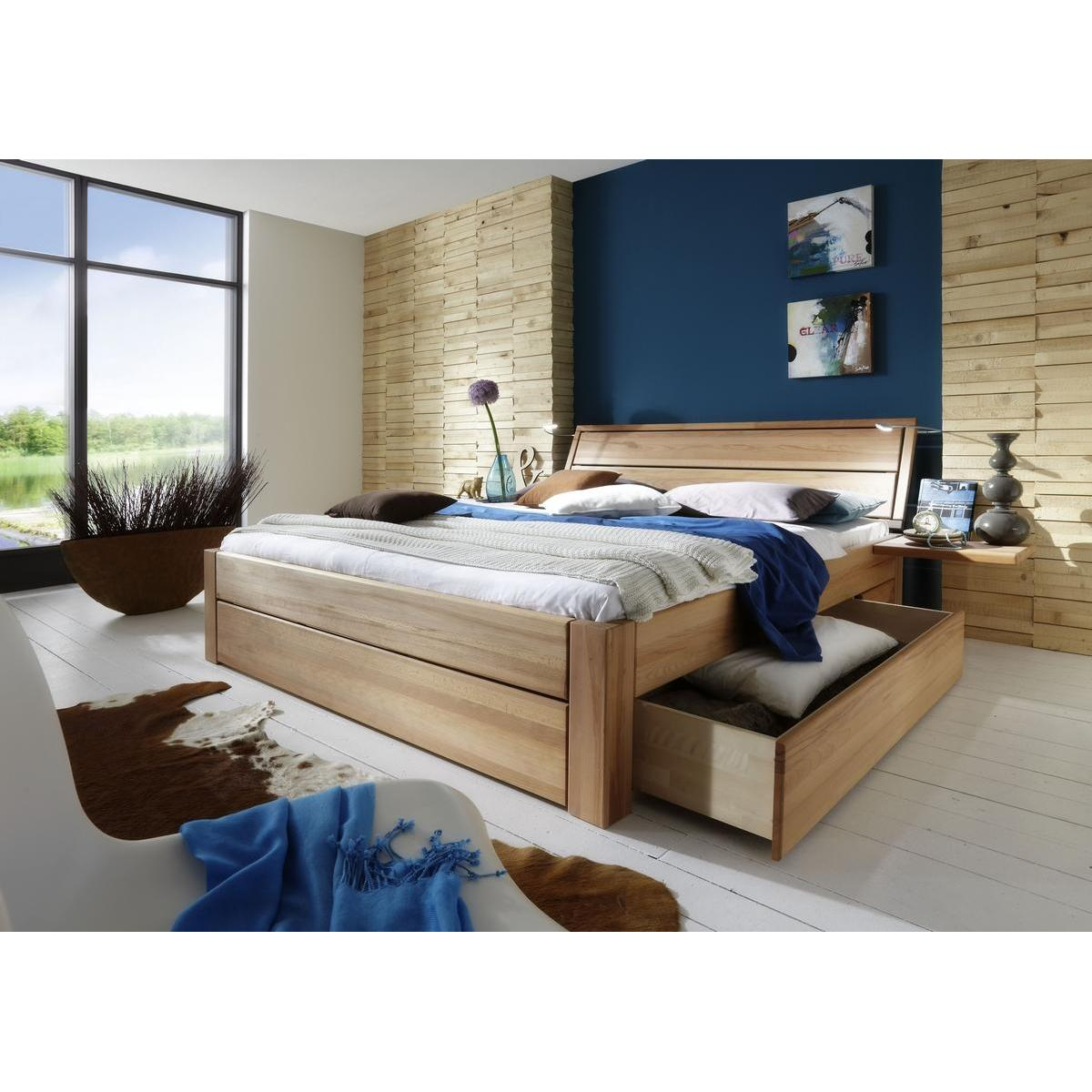 massivholz schubkastenbett 100x200 easy sleep kernbuche massiv ge lt 9410 93 52 87. Black Bedroom Furniture Sets. Home Design Ideas