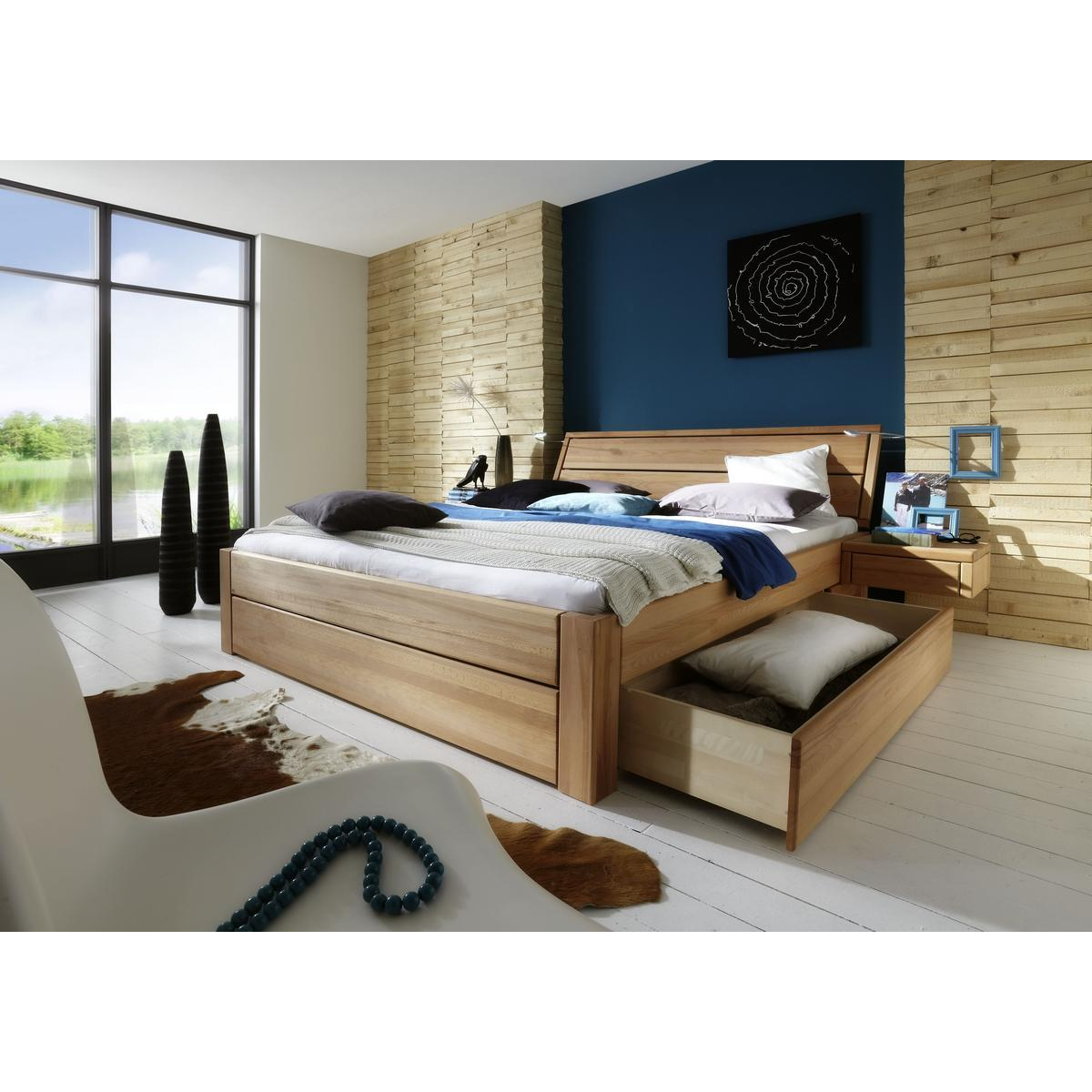 massivholz schubkastenbett 90x200 easy sleep kernbuche massiv ge lt 9409 93 52 87. Black Bedroom Furniture Sets. Home Design Ideas