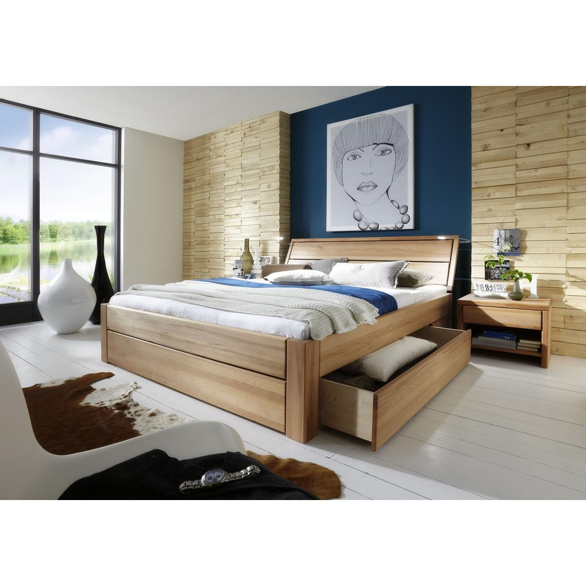 massivholz schubkastenbett 200x200 easy sleep kernbuche. Black Bedroom Furniture Sets. Home Design Ideas