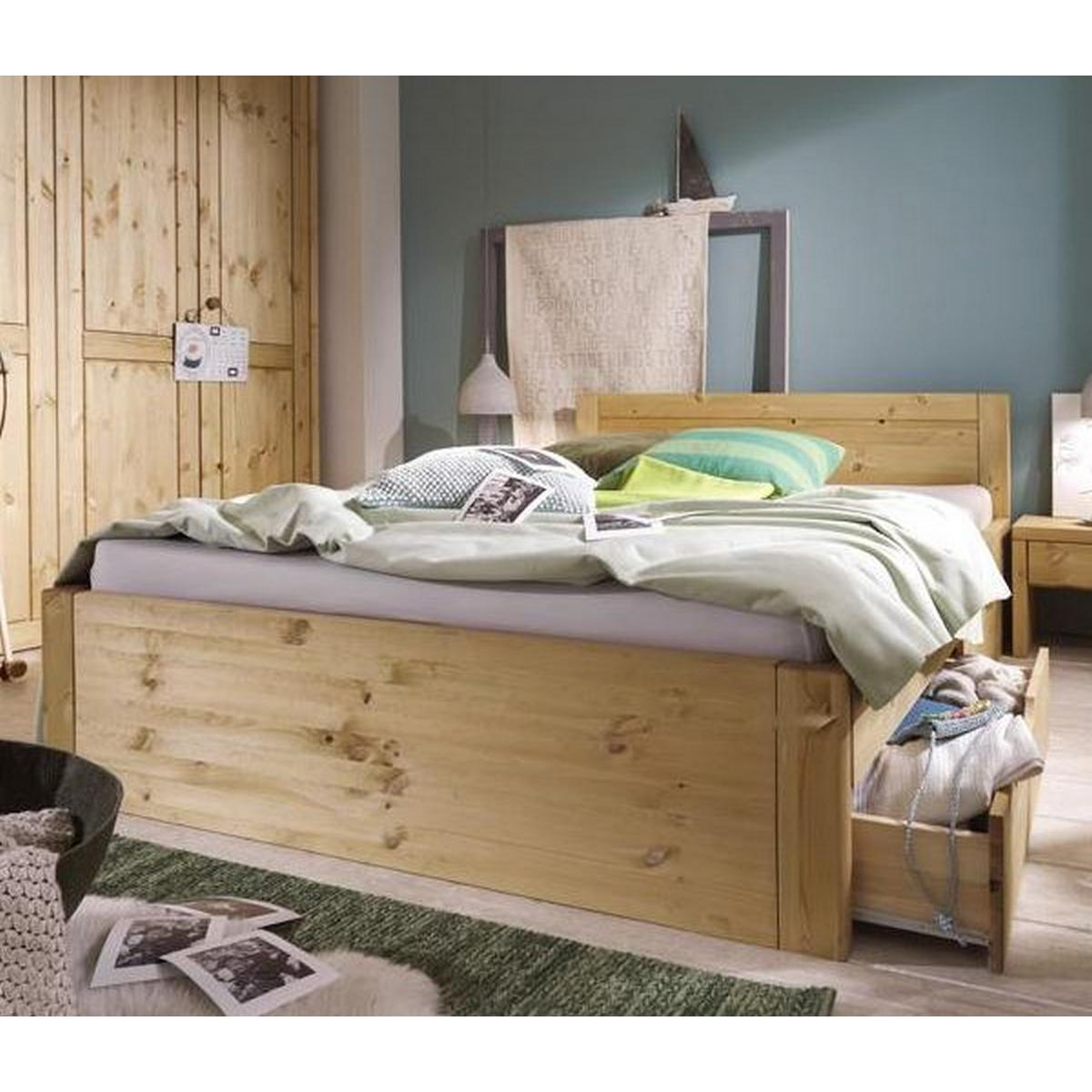 doppelbett 140x200 rauna xl kiefer massiv gebeizt ge lt. Black Bedroom Furniture Sets. Home Design Ideas