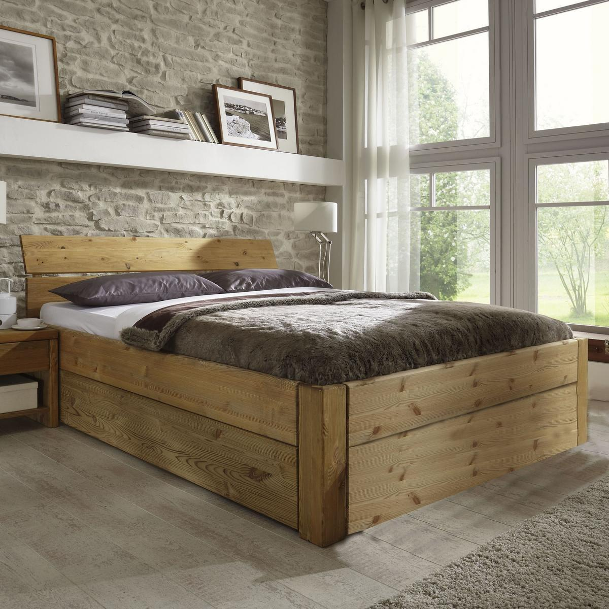 massivholz schubkastenbett 100x200 easy sleep kiefer massiv gelaugt ge lt 9210 93 52 5. Black Bedroom Furniture Sets. Home Design Ideas