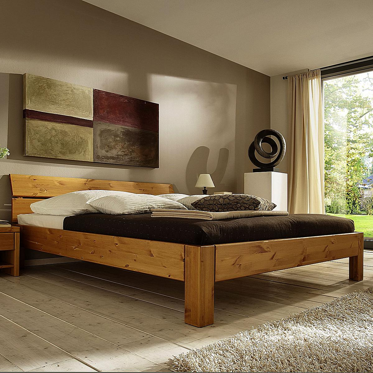 bett honig kirsch 160x200 kiefer massiv xl easy sleep 9216 93 7. Black Bedroom Furniture Sets. Home Design Ideas