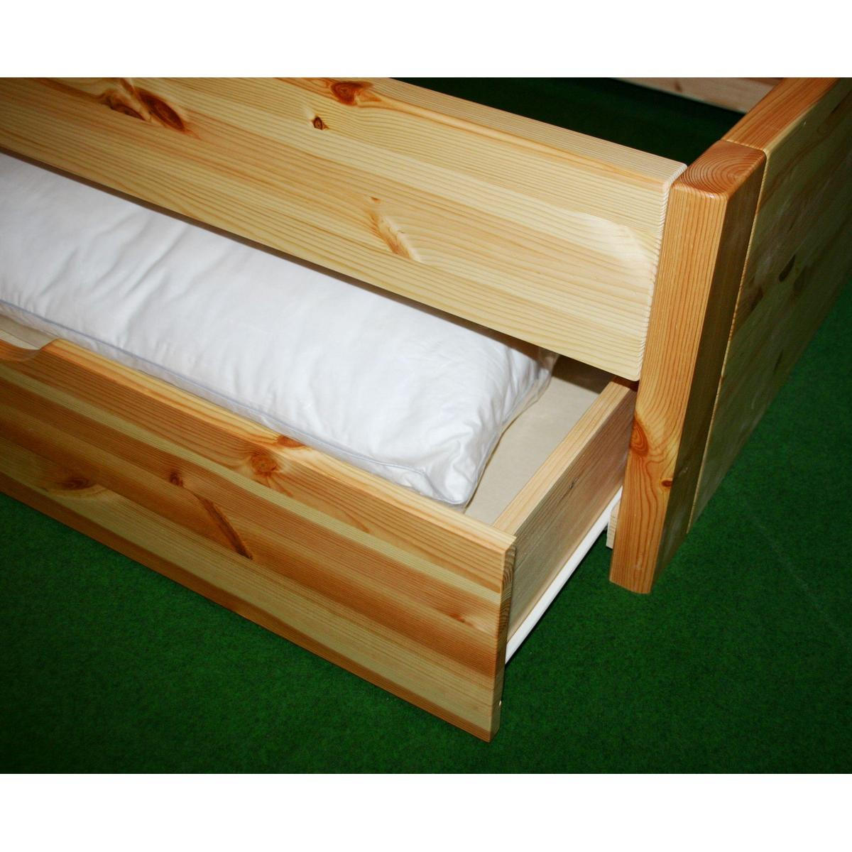 Funktionsbett 180x200  Vollholzbett Bett mit schubladen Kiefer massiv weiss lasiert ...