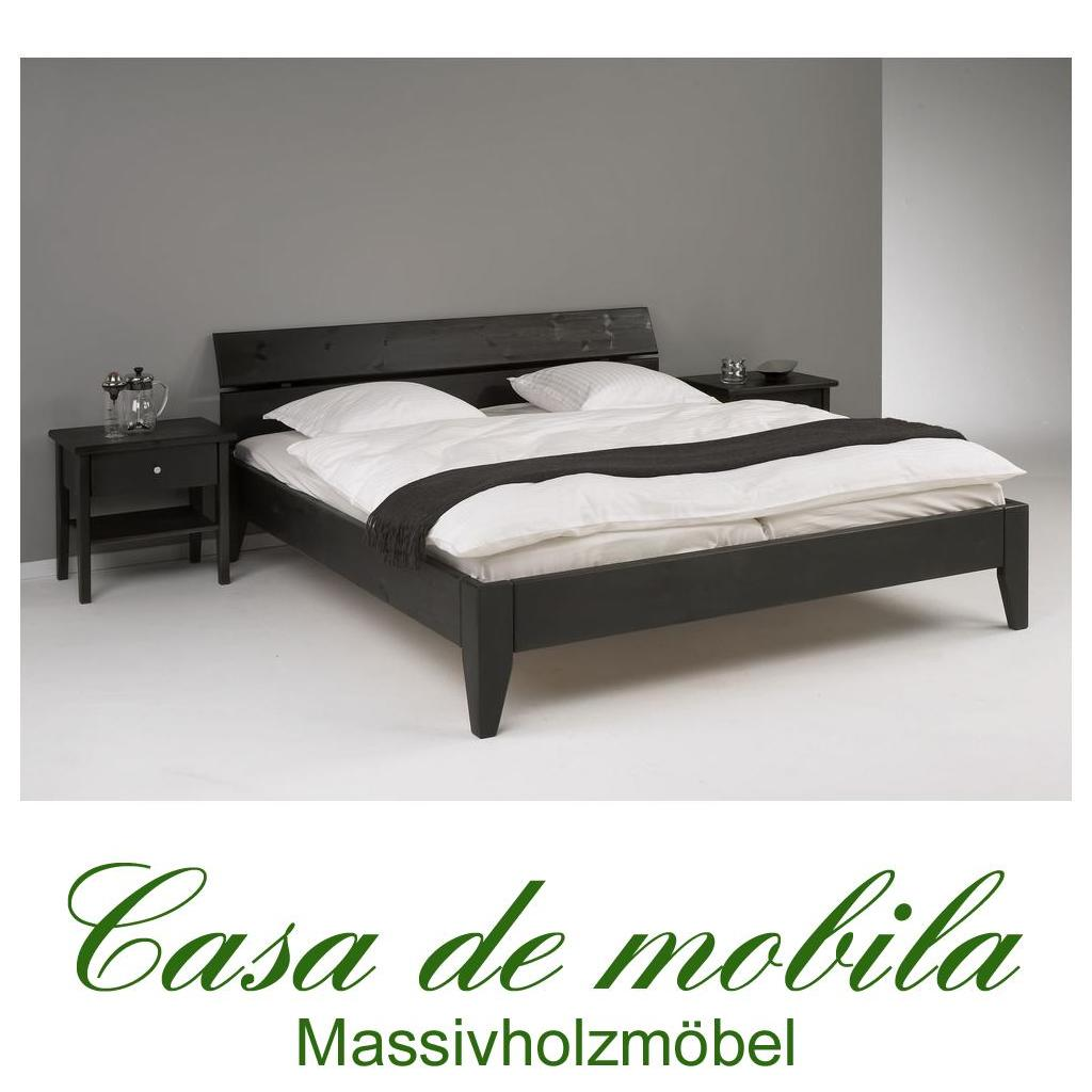 massivholz bett 100x200 easy sleep kiefer massiv schwarz. Black Bedroom Furniture Sets. Home Design Ideas