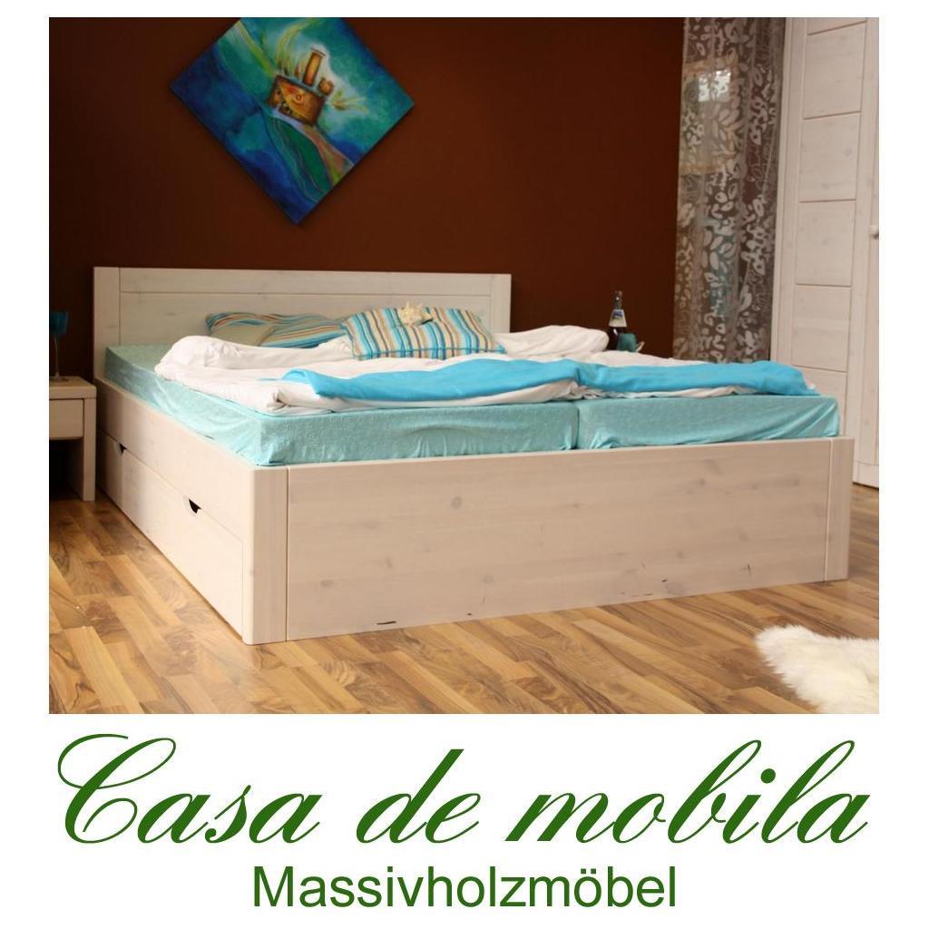 Holzbett weiß 160x200  Bett mit schubladen 200x200 weiß lasiert holz Kiefer massiv Rauna XL