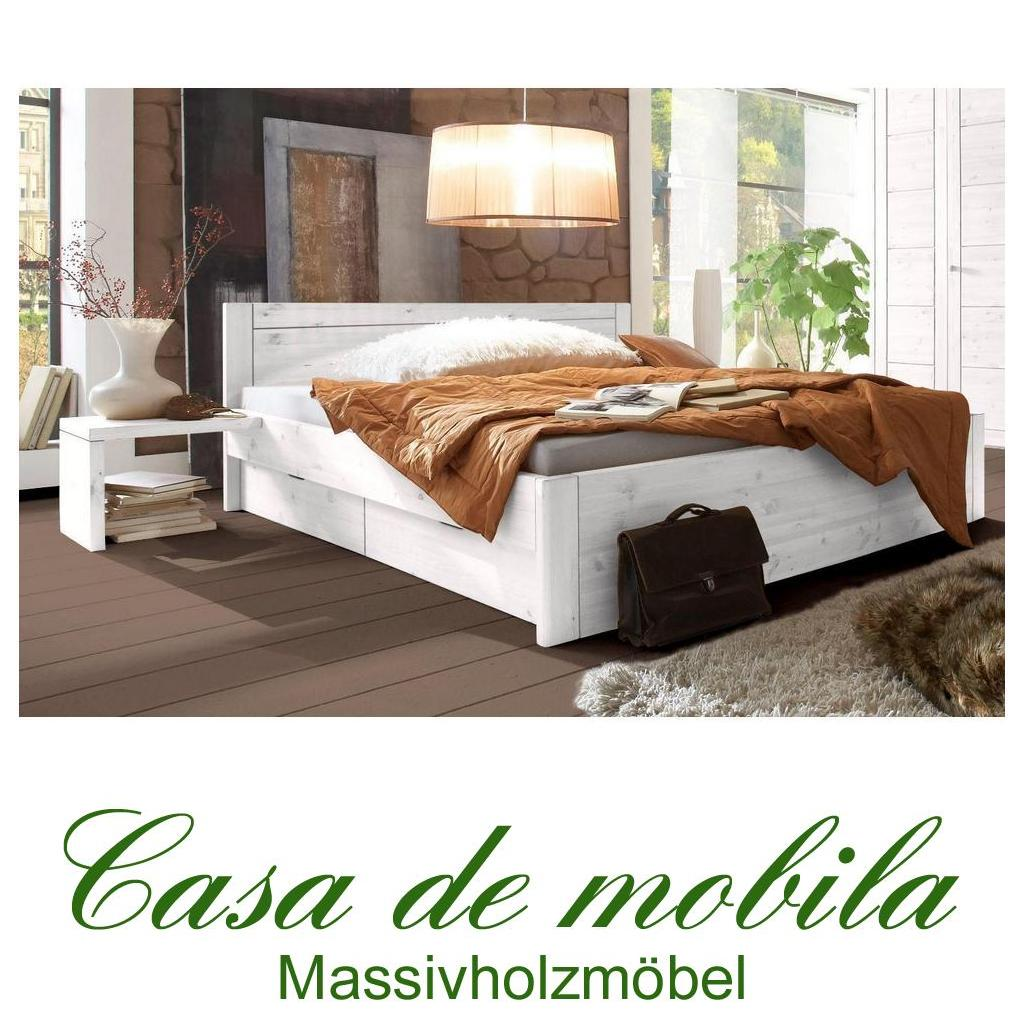 vollholzbett bett mit schubladen kiefer massiv weiss lasiert 180x200 rauna. Black Bedroom Furniture Sets. Home Design Ideas