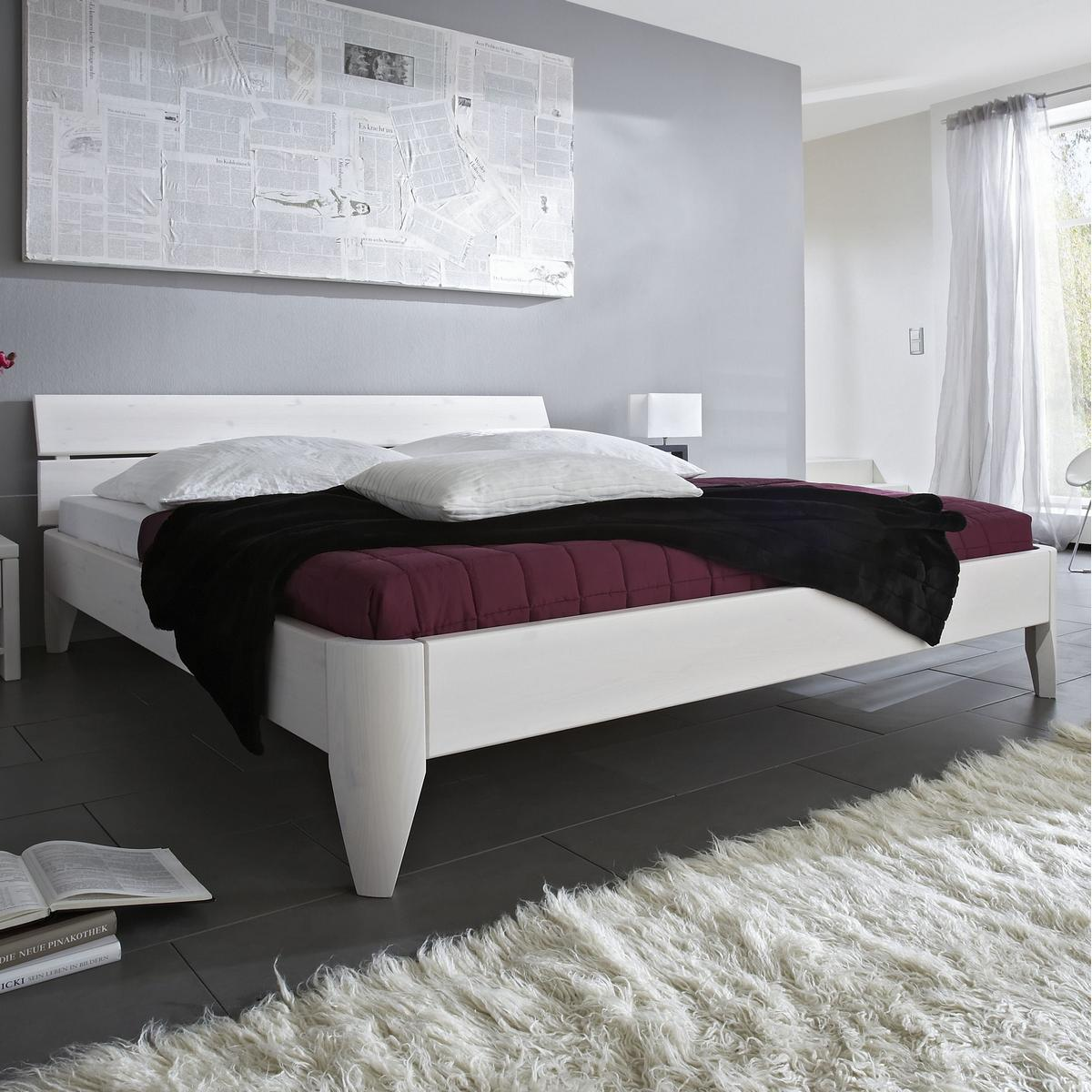 massivholz bett 120x200 easy sleep kiefer massiv wei. Black Bedroom Furniture Sets. Home Design Ideas